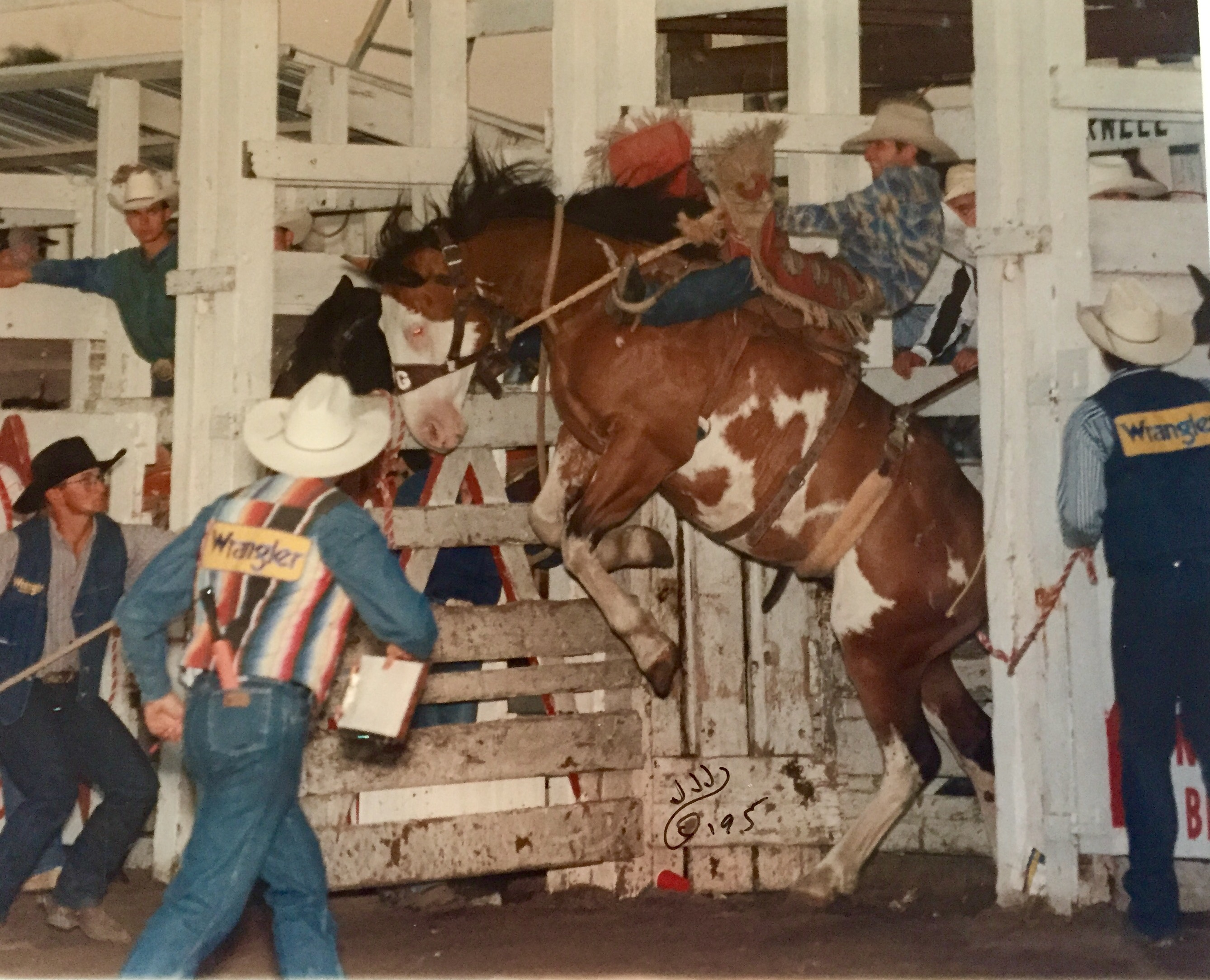 This was me on NFR bronc, Candyman owned by Benny Butler at Burwell, Nebraska. (Photo courtesy of Steve Stevens)