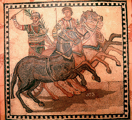 A winner of a Roman chariot race, from the Red team. https://en.wikipedia.org/wiki/Chariot_racing#/media/File:Winner_of_a_Roman_chariot_race.jpg (public domain)