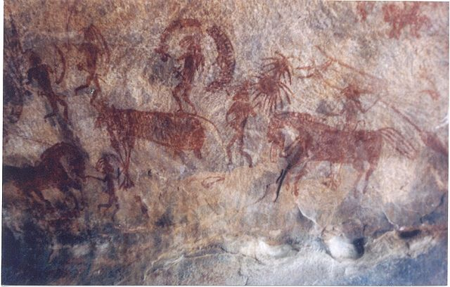 Bhimbetka rock painting showing man riding on horse, India.  https://commons.wikimedia.org/wiki/File:Bhimbetka_rock_paintng1.jpg    (licensed under the Creative Commons Attribution-Share Alike 3.0 Unported license. Subject to disclaimers.)
