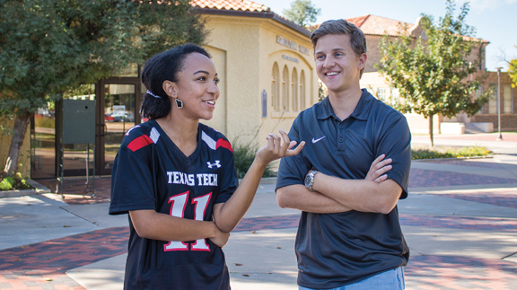Jalissa Williams, a natural resources management major from Livingston (left) and Brian Koontz, an agricultural and applied economics major from Trophy Club. (Photo courtesy of Texas Tech University)