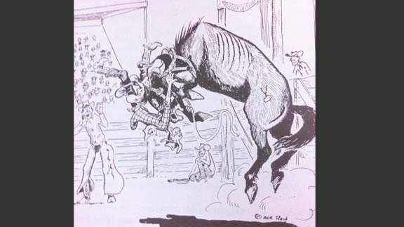 "Cartoon drawn by Reid's cousin, Ace Reid. Caption reads, ""Jake quit showing off...you're scaring the crowd half to death!"" Fitting illustration for Reid's bronc riding days.  (Photo courtesy of Clay Reid)"