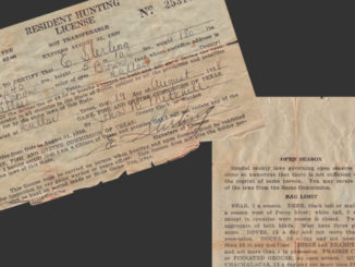 The photo above is a hunting license issued to E. Sterling more than 70 years ago by the Texas Game, Fish, & Oyster Commission (now known as the Texas Parks & Wildlife Department). (Photo by Russell Graves)