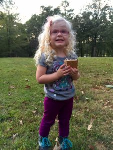 First s'more for Violet. (Photo courtesy of Steve Stevens)
