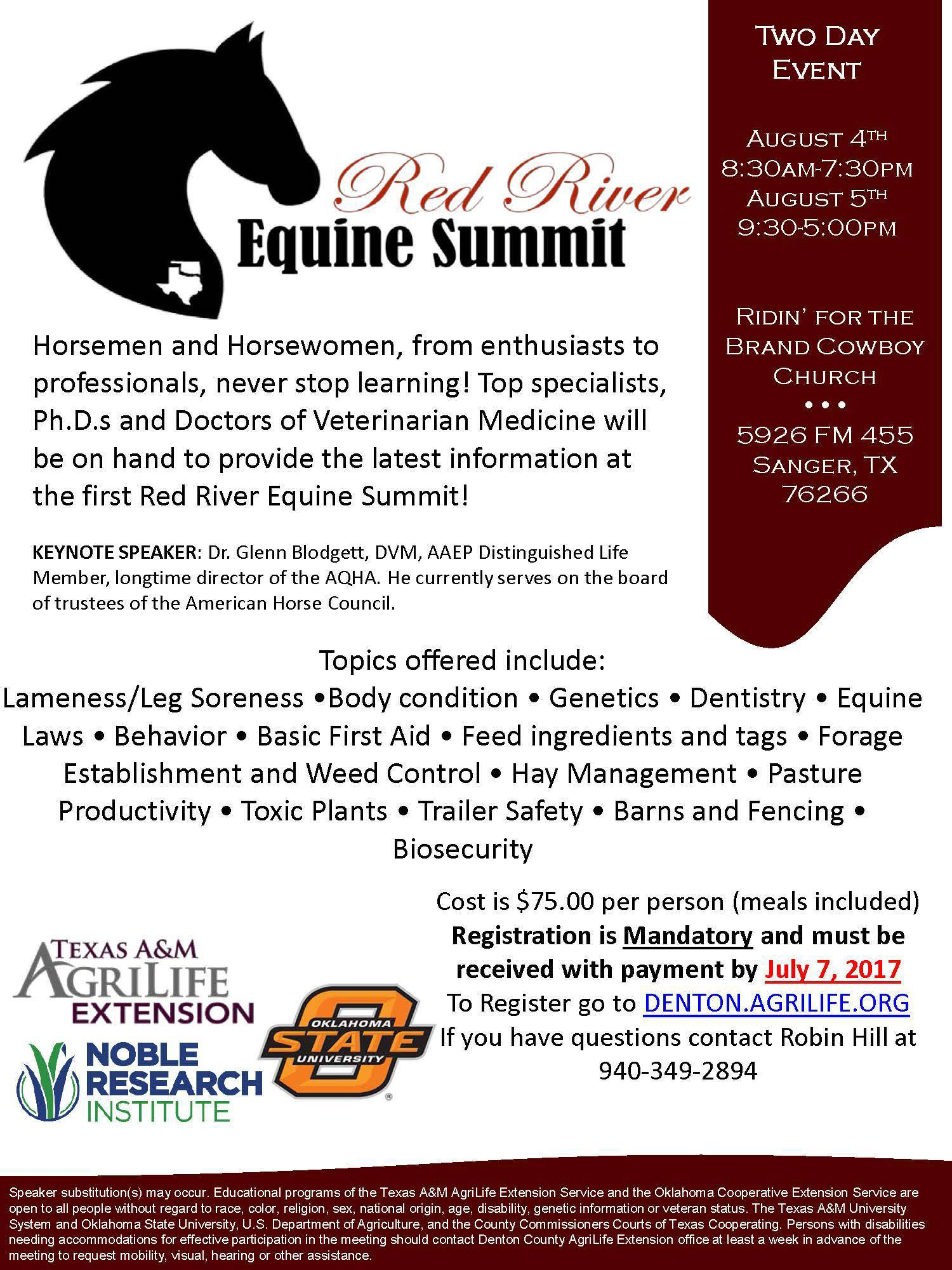 Red River Equine Summit @ Ridin' for the Brand Cowboy Church | Sanger | Texas | United States